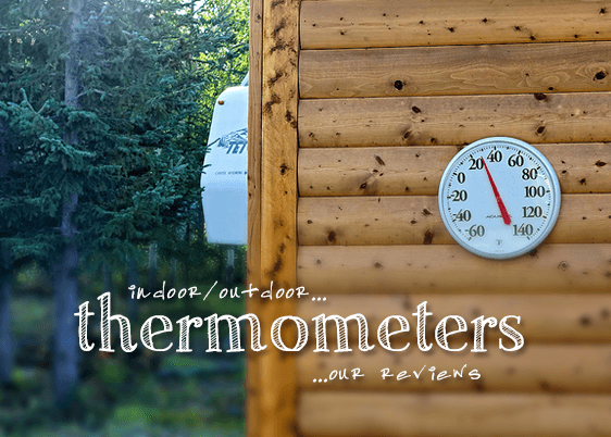Outdoor thermometer on shed wall.