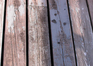 Stain on decking.