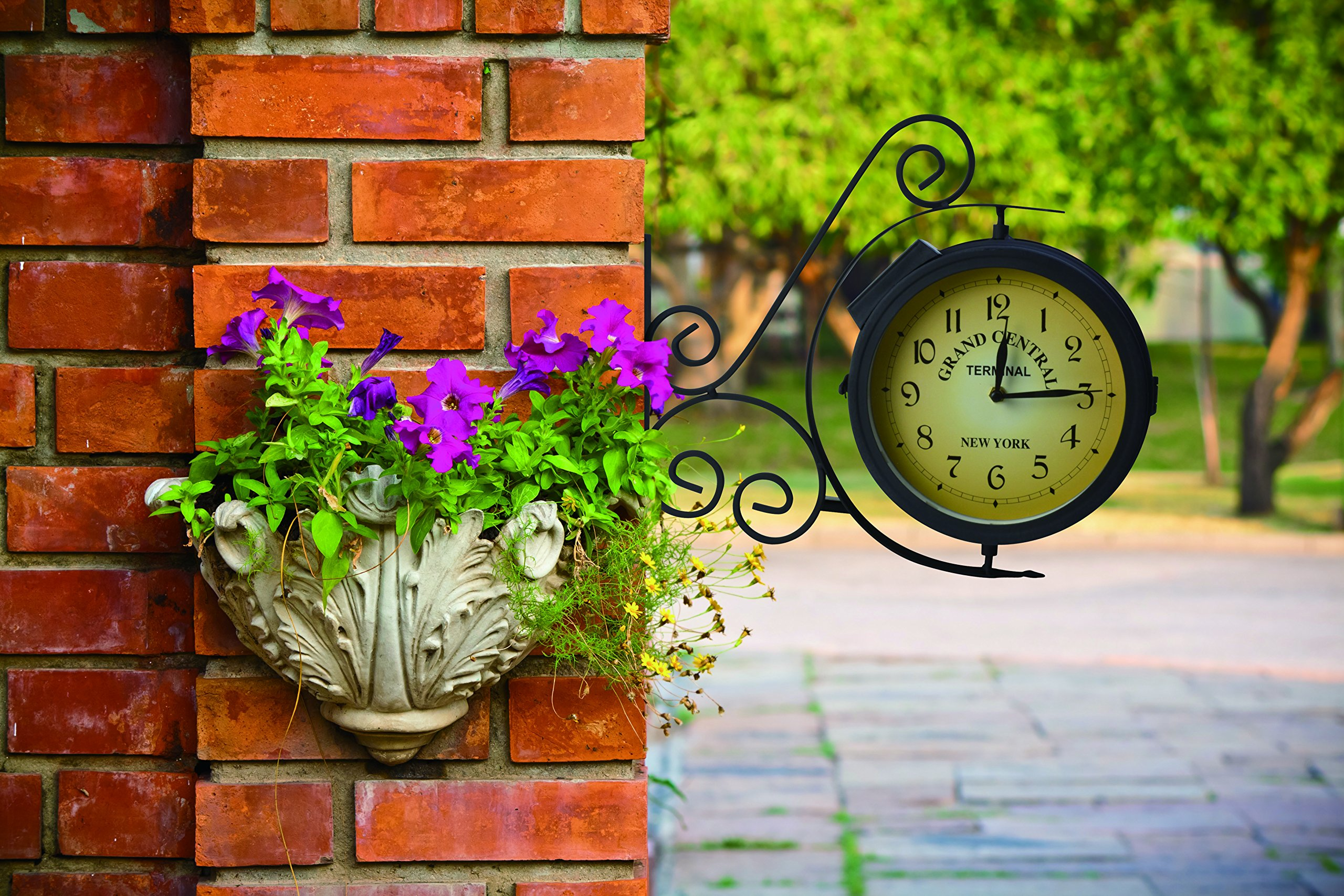 Best outdoor clocks reviews and top picks urban turnip moonrays solar powered station clock amipublicfo Gallery