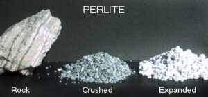 Perlite in three different stages.